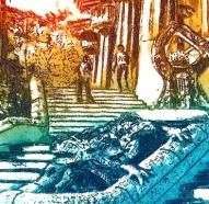 Detalle de un grabado del Dragón del Park Guell