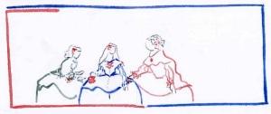 Boceto de Meninas de Velázquez en azul y rojo sobre fondo blanco