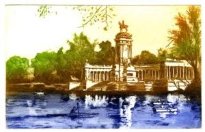 Imagen del Parque del Retiro de Madrid listo para reproducir en un regalo de empresa