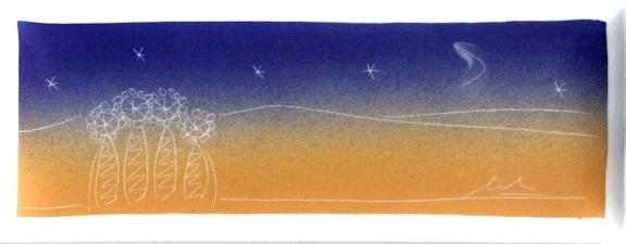 Bandeja con imagen de la Sagrada Familia de noche